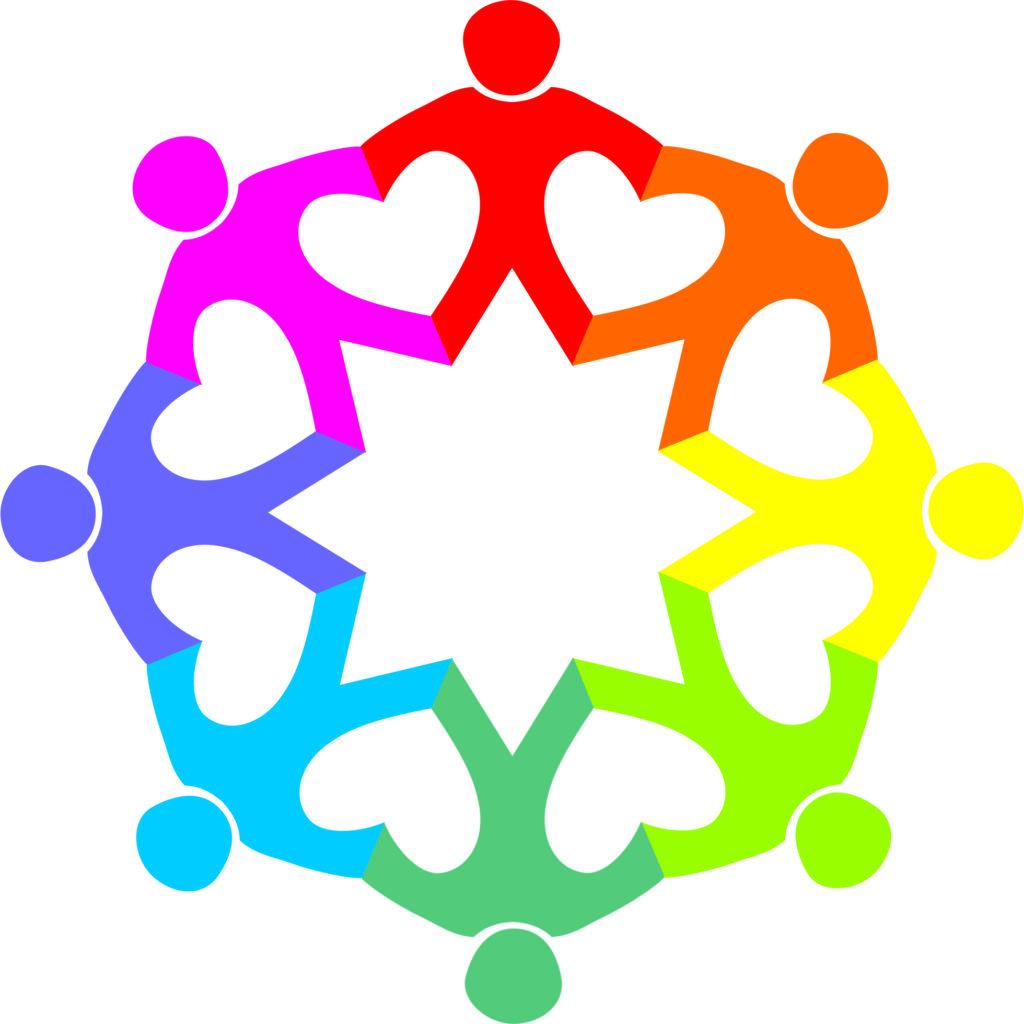 Unser schönes Logo:  Ein Personenkreis, der durch große Herzen zwischen Menschen in bunten Farben (symbolisch für Vielfalt) verbunden ist, die auf einem gemeinsamen Stern stehen.