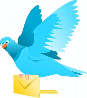 Fliegende Brieftaube mit Brief in den Krallen (Zeichnung)