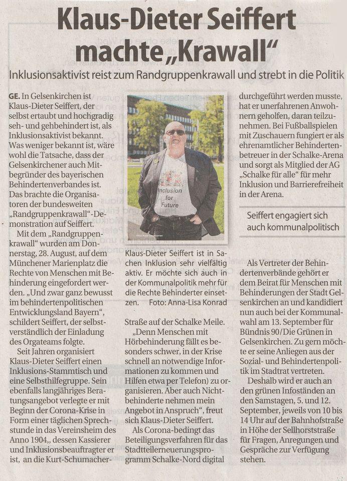 """Zeitungsausschnitt mit einem Foto von unserem Gründungsmitglied Klaus-Dieter Seiffert. Überschrift: """"Klaus-Dieter Seiffert machte """"Krawall"""". Inklusionsaktivist reist zum Randgruppenkrawall und strebt in die Politik."""