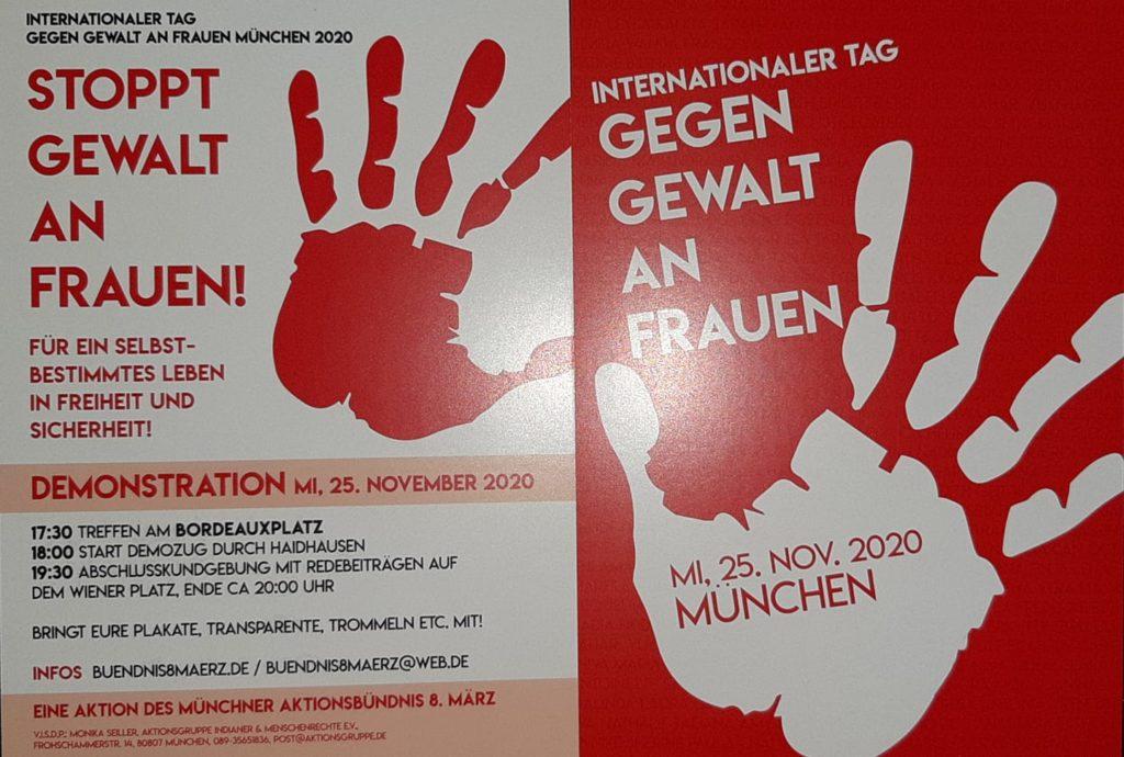 """Rot-weißer Flyer der Aktion """"Internationaler Tag GEGEN GEWALT AN FRAUEN"""""""