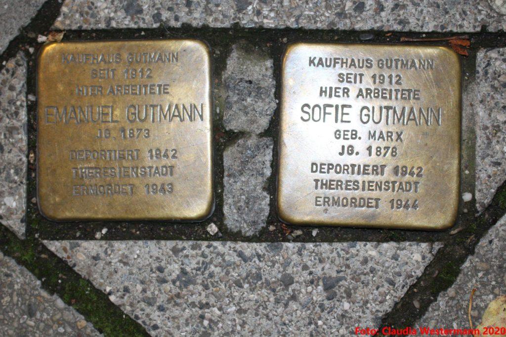 Die Stolpersteine von Sofie und Emanuel Gutmann