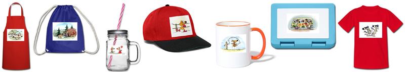 Kochschürze, Turnbeutel, Trinkglas, Basecap, Tasse, Lunchbox, T-Shirt, alle mit Zeichnungen von dem Künstler Heinz Grundel (Produktvorschau aus dem Shop)