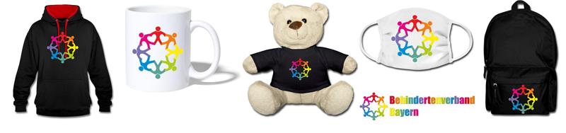 Hoodie, Tasse, Teddybär, Mundschutzmaske, Rucksack, alle mit dem Logo vom Behindertenverband Bayern (Produktvorschau aus dem Shop)