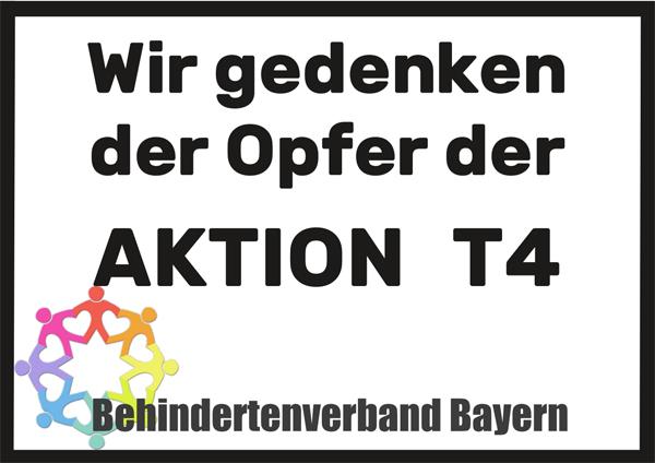 Schild mit der Aufschrift: Wir gedenken der Opfer der Aktion  T4