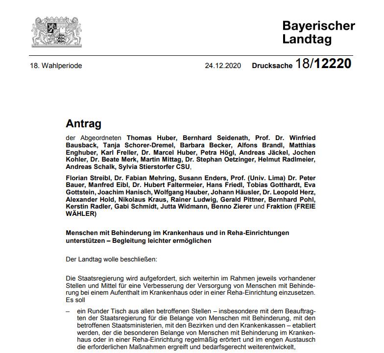 Screenshot Antrag Bayerischer Landtag