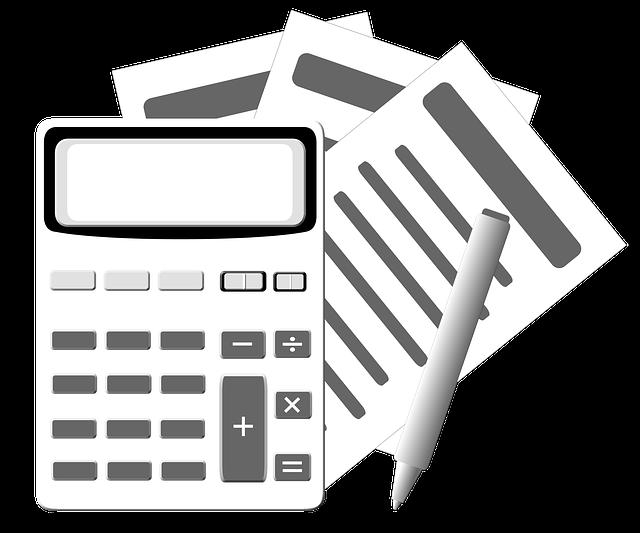 Zeichnung: Taschenrechner, Stift und Zettel
