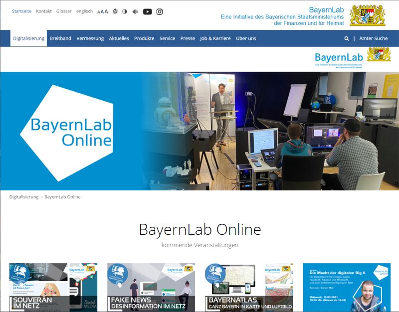 Screenshot Website BayernLAB