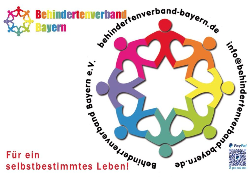 Likes on bikes-Schild mit unserem bunten Logo  und dem Schriftzug Behindertenverband Bayern. Für ein selbstbestimmtes Leben!