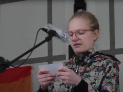Rede von Eva Apfl beim Randgruppenkrawall-Behindertenprotest am 7.5.2021