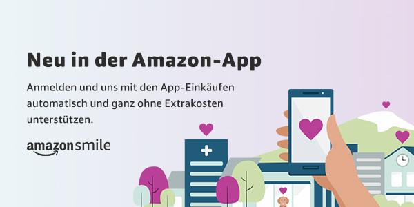 Bild zeigt Text: Neu in der Amazon-App Anmelden und uns mit den App-Einkäufen automatisch und ganz ohne Extrakosten unterstützen.  amazonsmile  Gezeigt wird ein Handy, das von einer Hand gehalten wird, mit einem Herz auf dem Display. Im Hintergrund ist eine bebaute Landschaft zu sehen.