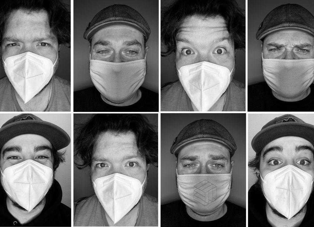 Acht Schwarz-weiß-Fotos von Maskenträgern, die unterschiedliche Gesichtsausdrücke zeigen