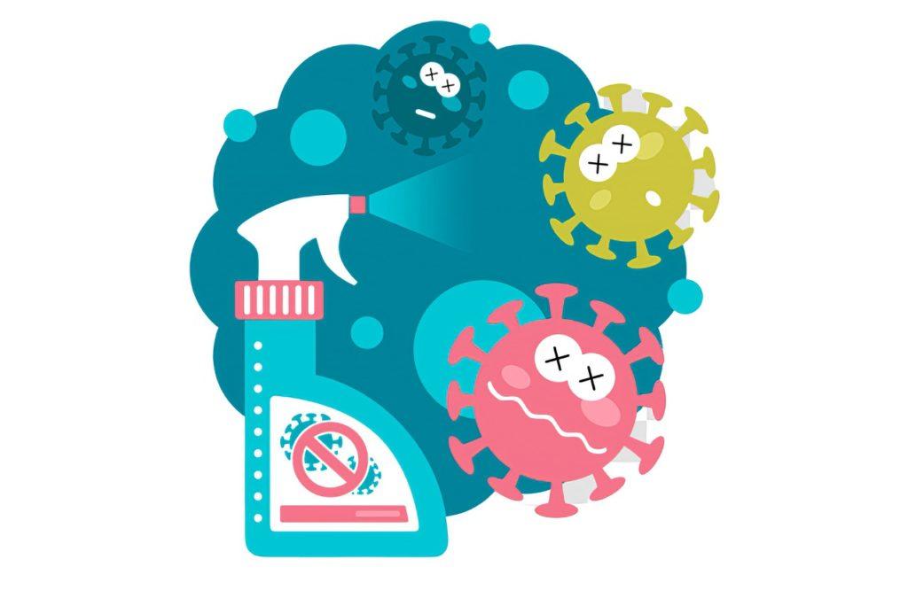 Zeichnung: Drei farbige Viren leiden sichtlich, weil sie von einem Desinfektionsmittel angesprüht werden.